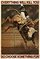 RCY-T Man Riding A Horse Poster ブリキサイン Vintage Bar Club Family Man Cave Wall Decoration 8x12 Inches-6-8x12 inch