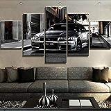 IIIUHU Cuadro sobre Impresión Lienzo 5 Piezas Coche Nissan Skyline GTR HD Abstracta Imágenes Modulares Sala De Estar Cuadro Decorativo Abstracto Salon Dormitorio Decoración para El Hogar 150X80Cm