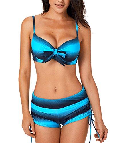 Aleumdr Donne Push Up Tie-Dye con Pantaloncino Bikini Pantaloncino con Farfalla Costumi Donna Mare Due Pezzi, Blu