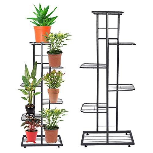 DD&Eren Estante de exhibición de plantador de 6 Niveles de Hierro Forjado para macetas de Flores para decoración de jardín Interior al Aire Libre,22x43.5x103cm