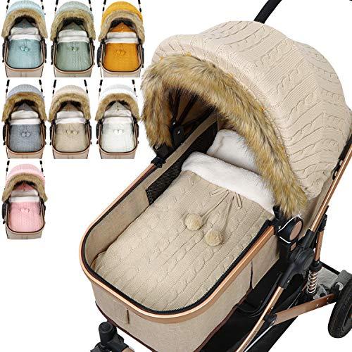 Baby Strick Schlafsack Kinderwagen Abdeckung Set Neugeborenen Kindersitz Baldachin Warm Gehäkelt Kinderwagen Wickeldecke Schlafsack für 0-12 Monate Mädchen Jungen