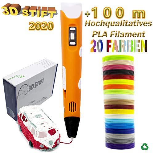 KreativKids 3D Stifte [Neuste Version 2020], 3D Stift mit LCD Bildschirm, für Kinder und Erwachsene inkl. 20 Farben x 5m PLA Filament Φ 1,75mm – Insgesamt 100 m