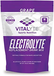 Vitalyte Natural Electrolyte Powder Drink Mix, Gluten Free, 40 2 Cup Servings Per Container (GRAPE-2PACK)