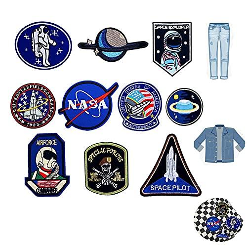 YYAOO 10 Stück Aufnäher zum Aufbügeln oder Aufnähen, bestickt, Weltraum-Astronaut und Flagge, Aufnäher für Kleidung, DIY, Kleidung, Aufkleber, NASA-Abzeichen