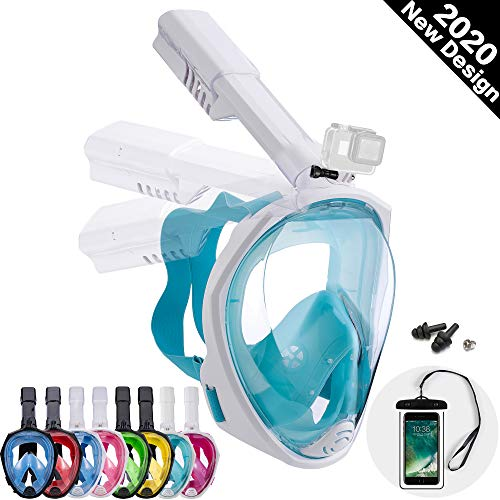 Dekugaa Full Face Snorkel Mask, Adult Snorkeling Mask with Detachable Camera Mount, 180 Degree Panoramic Viewing Upgraded Dive Mask with Safety Breathing System (Light Cyan, Large)