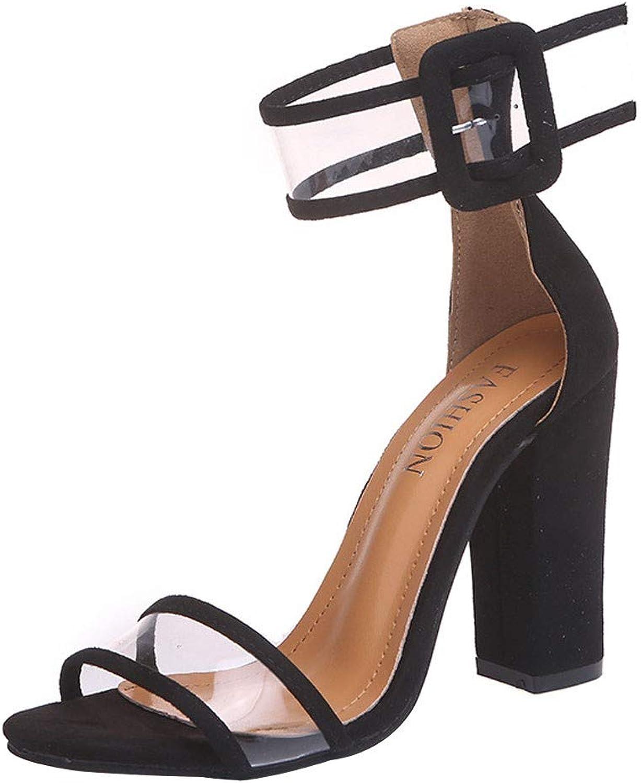 AmyGline Sandalen Damen Sommer High Heels Sandaletten Schnalle Strap Strap Mode Einfach Business Schuhe  klassische Mode