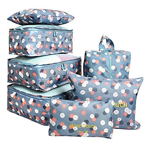 Set di 7 Cubi da imballaggio Organizzatori da viaggio Sacchetto per la biancheria Borse per la compressione dei bagagli Sacchi per la valigia