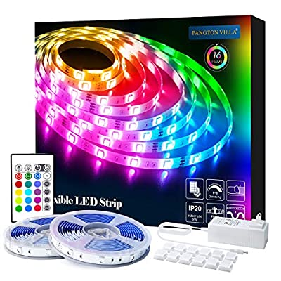 PANGTON VILLA LED Strip Lights 32.8ft 5050LEDs Color Changing Full Kit with 24key Remote Control and Power Supply Mood Lamp for Room Bedroom Home Kitchen Indoor Decorations, RGB (Red, Green, Blue)