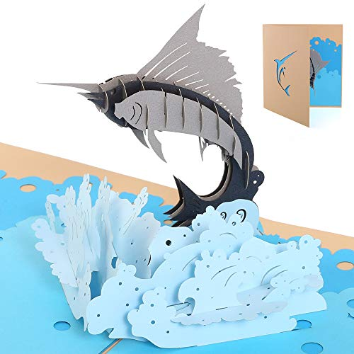 Handmade 3D Pop Up Cards - Marlin Handmade Pop Up Greeting Card for Your Loved Ones, Wedding Anniversary Card for Couple, Valentine Day, Happy Birthday Cards