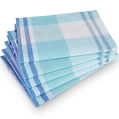 Tonsooze Premium Geschirrtücher, Hochwertige Geschirrhandtücher Geschirrhandtücher Küche - Geschirrtücher Halbleinen 5er Set, 50x70 cm, blau kariert