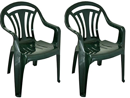 AQS INTERNATIONAL Plastic Low Back Garden Chair Lightweight Armchair Home Camping Picnic Fishing (2x Green Chair)