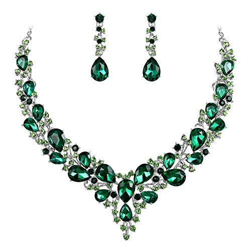 BriLove Wedding Bridal Necklace Earrings Jewelry Set for Women Austrian Crystal Teardrop Cluster Statement Necklace Dangle Earrings Set Emerald Color Silver-Tone