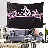 PATINISA Tapiz de Regalo,Princesa Corona de Color Rosa pálido con Figuras de Diamantes Disfraz de la Familia Real del gobernante de la nación,Tapiz Bohemio diseño para Colgar en la Pared 60x51in