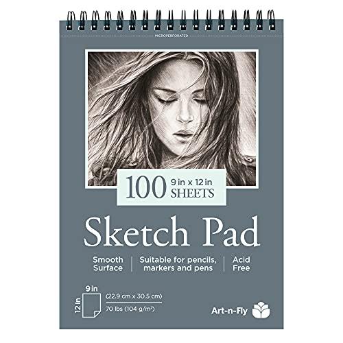 Sketchbook de 100 Hojas Cuaderno A4 Dibujo de Hojas Lisas de 100 gr y 22.9 x 30.5 cm (9 x 12 pulgadas) Bloc para Bocetos y Otros Dibujos con Lápices de Colores Rotuladores Bolis