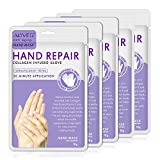 Moisturizing Gloves Hand Mask Gloves Overnight Bedtime 5 Pack, Natural Therapy Collagen Spa Treatment Gloves for Dry Sensitive Irritated Skin,Suit for Men & Women