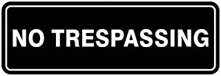 Standard NO TRESPASSING Door/Wall Sign - Black - Small