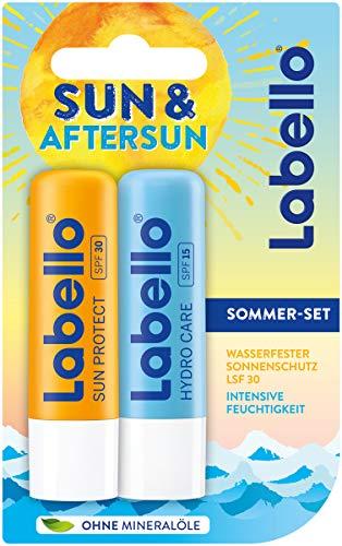 Labello Sun & Aftersun Lippenpflegeset im 1er Pack, Lippenpflegestift Set bestehend aus wasserfestem Sonnenschutz mit LSF 30 & Lippenpflege für intensive Feuchtigkeit