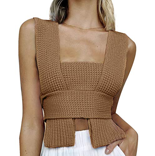 Chaleco de punto de las mujeres chaleco irregular DIY suéter de punto chaleco Y2k Knitwear Crop Tank Top múltiples estilos de uso, A-marrón, Talla única