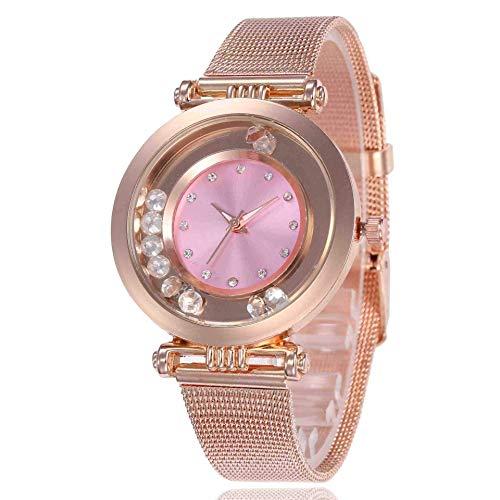 WMYATING Exquisito, Hermoso, decente, novedoso y único. Relojes de Pulsera Baixa Women's Watch Smoothie Diamond Alloy Mesh Cinturón Moda Reloj de Cuarzo para Mujer Rosa