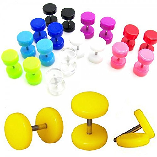 Set de 10 pareas pendientes aretes plug falso fake expansor túnel fakeplugs piercing 6 8 o 10 mm diferente colores, talla:10