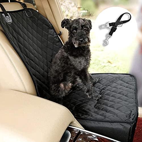 Hacrft Funda de asiento delantero para mascotas con correa de seguridad, 2 en 1 protector de asiento de coche, multifunción para perros (tamaño: 48 x 41 x 30 cm)