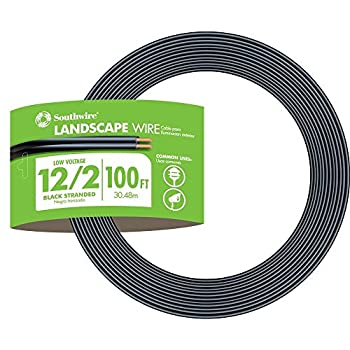 Southwire 55213443 100-Feet 12-Gauge 2 Conductor 12/2 Low-Voltage Underground Direct Burial Landscape Lighting Cable Black