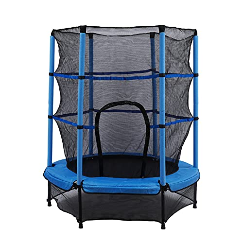 Cama elástica infantil con red de seguridad para niños y exteriores, 140 cm de diámetro (azul)