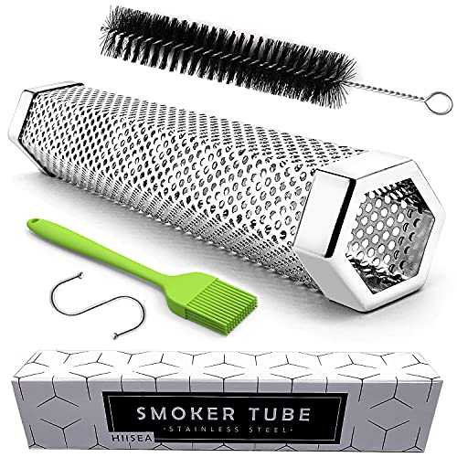 Smoke Tube - 12'' Smoke Tube for Pellet Grill 5 Hours of Billowing Smoke, Stainless Steel Pellet Smoker Tube for All Grill or Smoker, Hot or Cold Smoking