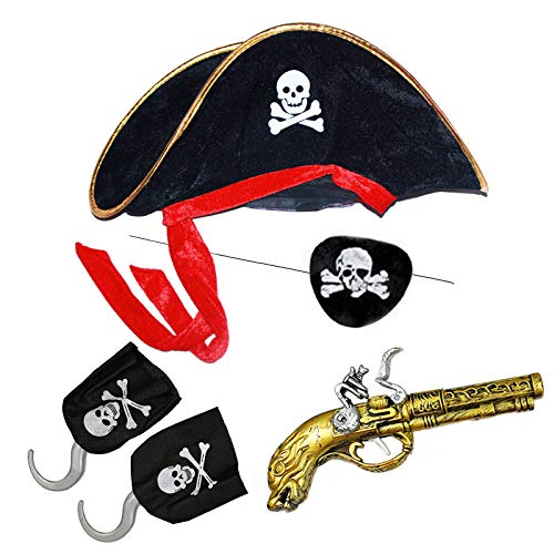 Product Image of the Kids Pirate Skull Hats Set with Eye Hook Patch Toy Gun Halloween Parties Costume...