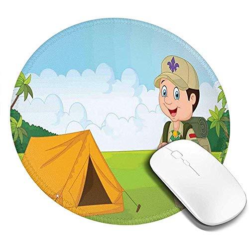 Ronde muismat, kleine padvinder met tent in de natuur bos avontuur kinderen ontdekking van hout, antislip gaming muis mat
