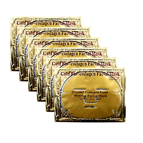 Permotary 6 PCS 24k Gold Gel Collagen Facial Masks, Treatment Deep Moisturizing Facial Masks For Anti Aging Puffiness Skincare Anti Wrinkle Tighten Skin & Revitalize Skin
