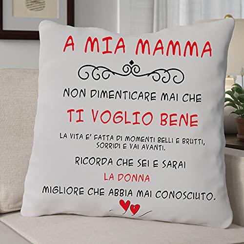 Cuscino A MIA MAMMA , Cuscino 40x40cm - Idea Regalo per Natale, Regalo Compleanno - con Imbottitura