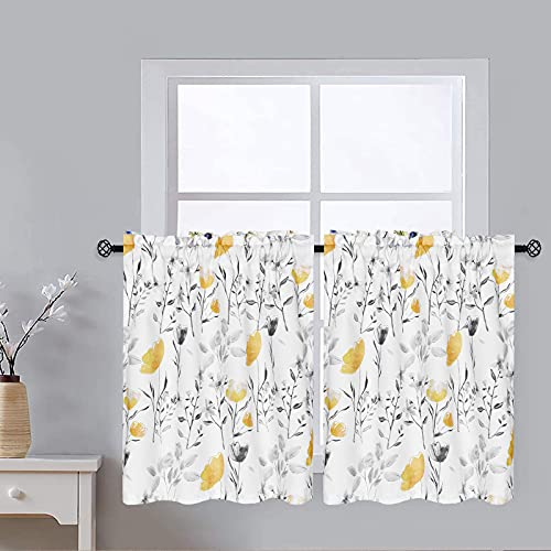 VERTKREA Tier Curtains, Yellow Flower Watercolor Kitchen Curtains, Yellow Gray Floral Rod Pocket Window Treatment Tier Pair for Kitchen Bathroom RV Basement Laundry, Set 2, 26 Inch Wide 24 Inch Long