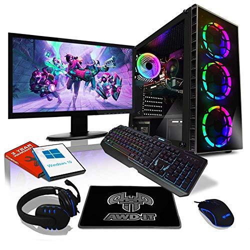 Kit de computadora de juego AWD-IT: AMD Ryzen 5 2600 3.9 GHz Ocho núcleos • 16 GB RAM • GTX 1660 Super 6 GB • Pantalla de 24 '• Teclado, mouse, tapetes y auriculares