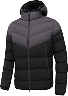 MU2M Men Casual Quilted Padded Hooded Casual Full Zip Contrast Color Down Parka Coat