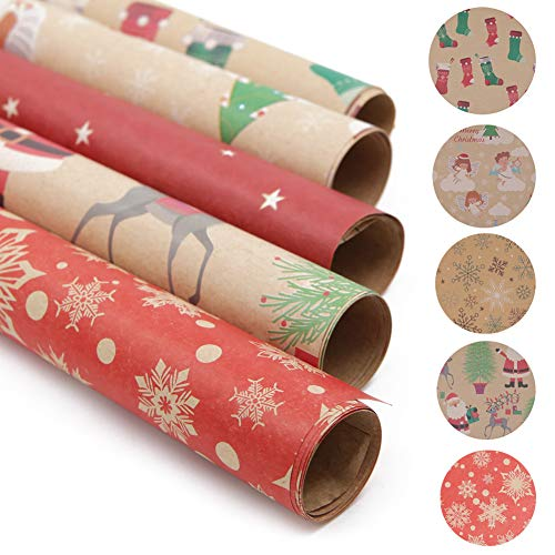 20 Sheets Gift Wrapping Paper, Santa Wrapping Paper,...