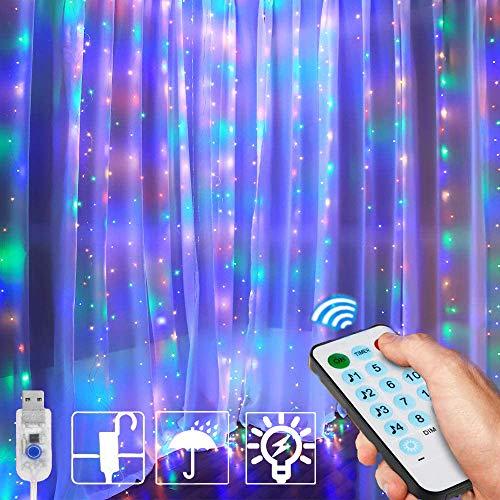 LED Lichtervorhang, MCSWSEA 3x3m 300 LEDs USB Lichterketten Vorhang Bunt mit Fernbedienung, 12 Modi IP65 Wasserdicht Fensterleuchten Innen Weihnachten für Party, Hochzeit, Geburtstag, Außen/Innen
