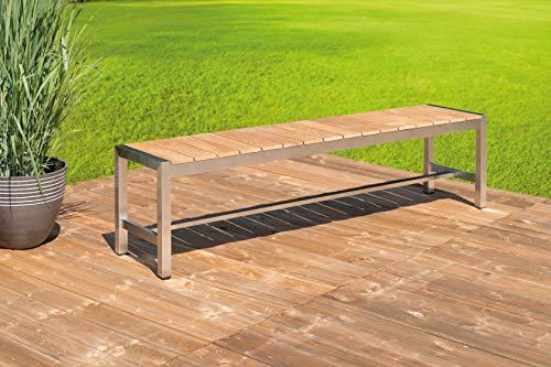 Greemotion Gartenbank SAN Diego aus Teak Holz-2 Sitzer Holzbank ohne Lehne-Garten Sitzbank wetterfest-Teakholz Bank massiv mit Edelstahl für draußen, Braun, 15,2 x 5 x 1,4 cm - 5