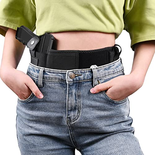 Belly Band Gun Holster Concealed Carry Holster for Men Women aetrio Breathable Waistband Holster Compatible with Glock 19 Holster (M)