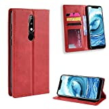Étui de protection à rabat magnétique pour Nokia 5.1 Plus 5.1 Plus X5 X 5 avec porte-cartes Rouge
