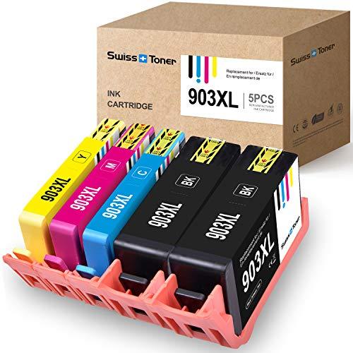 SWISS TONER Kompatibel für HP 903XL 903 XL Tintenpatronen für HP OfficeJet Pro 6950 6970 6960 6860 6868 6975 6978,2Schwarz/Cyan/Magenta/Gelb(Neuer Chip)