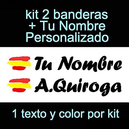 Vinilin Pegatina Vinilo Bandera España + tu Nombre - Bici, Casco, Pala De Padel, Monopatin, Coche, Moto, etc. Kit de Dos Vinilos