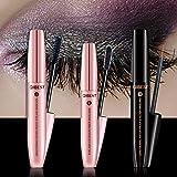DDK 4D Mascara Kit Wimperntusche mit Fiber Set Makeup Wimpern Augenbrauenserum Wimpernverlängerung Wasserdicht schwarzer Länger Dicker Wimpern