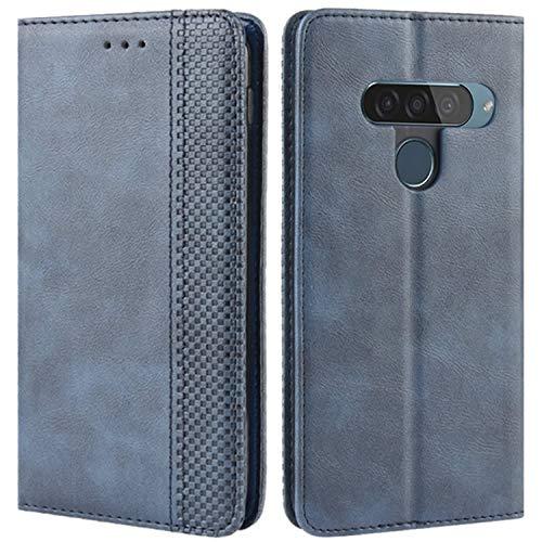 HualuBro Handyhülle für LG G8S ThinQ Hülle, Retro Leder Stoßfest Klapphülle Schutzhülle Handytasche LederHülle Flip Hülle Cover für LG G8S ThinQ Tasche, Blau