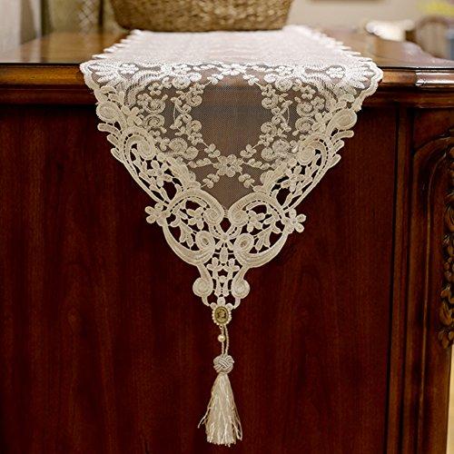 TINDLSHHDPPM Tischläufer Spitze verschönert & Bestickt romantische Tisch-Fahnen garne aus hohlen Netto tischläufer Bestickt teetisch tischdecke-B 30x180cm(12x71inch)
