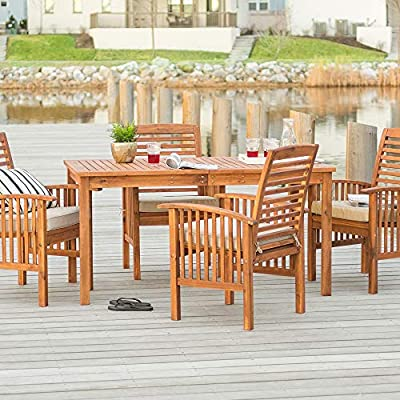 Walker Edison Rendezvous Modern 5 Piece Solid Acacia Wood Outdoor Dining Set, Set of 5, Brown