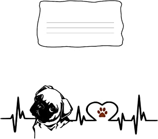 Composition Notebook: Pug Dog Heartbeat EKG Heart Line