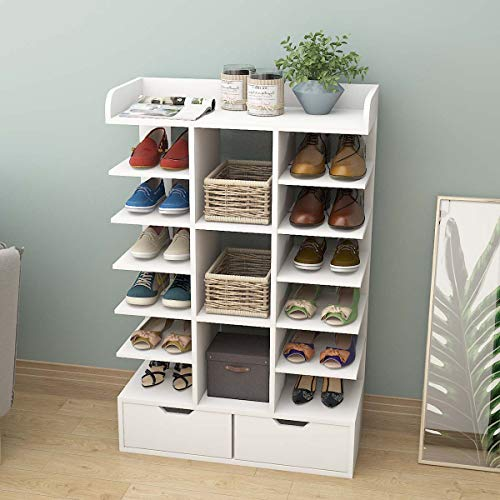 VIKOVCIM Wooden 6 Tiers Tall Shoe Rack, White Shoe Storage Cabinet with 2 Drawers, Bookshelf Shoe Shelf Shoe Storage Unit for Entrance Hallway Furniture