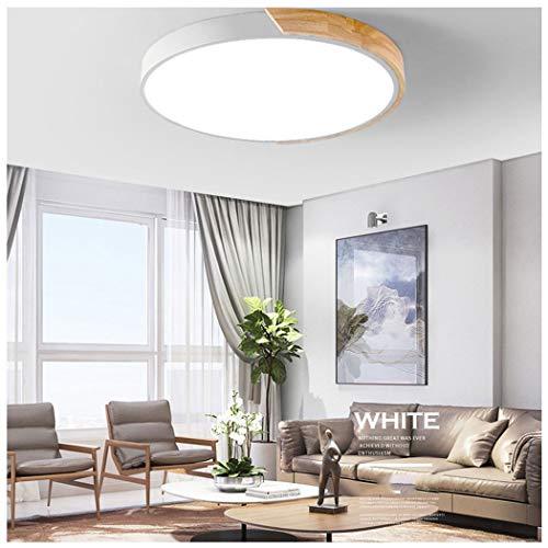 AXIANQILight Plafonnier Trois Tons Lumière Simple Macarons Acrylique Bois Mince Lampe De Plafond Ronde LED Salon Chambre Maison 60cm (Color : White, Wattage : 220v)
