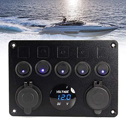 RASHION 5 Gang Switch Panel de Control LED Rocker Doble Cargador USB y Voltímetro Encendedor de Cigarrillos para 12 V/24 V Marina RV Coche Barco Vehículo Camión Remolque Yate